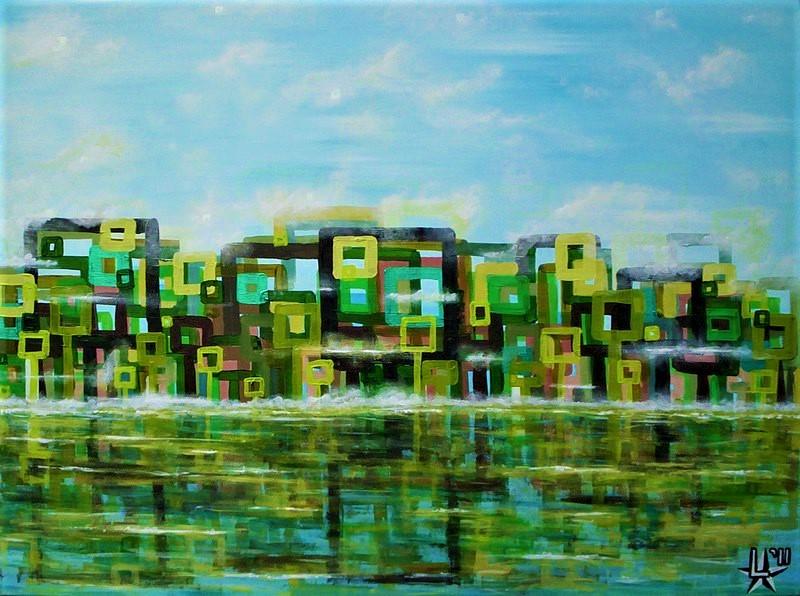 kunstenaar utrecht kunst ltuziasm l-tuziasm schilderij art artist painting urban landscape city trippin acrylic