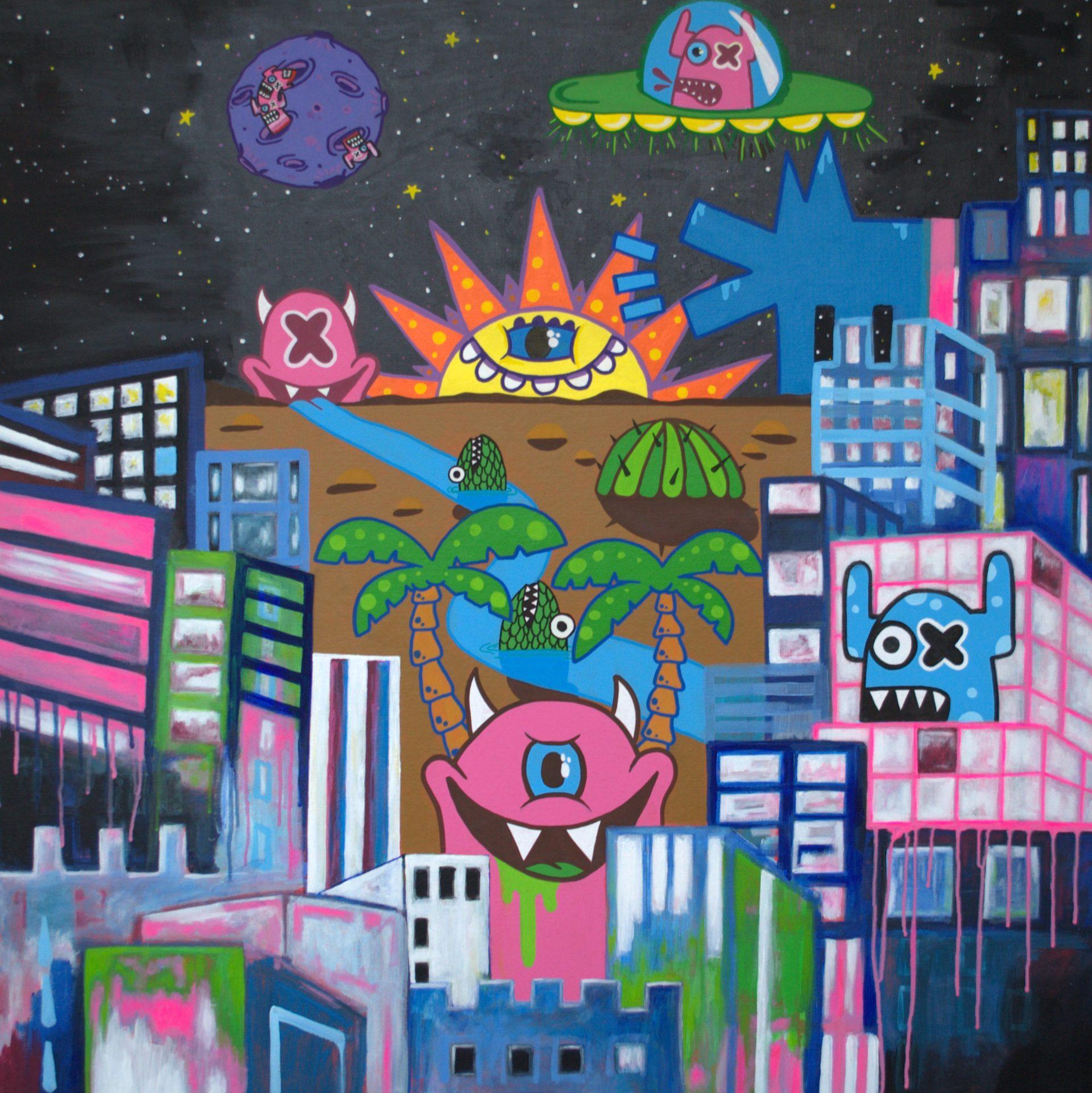 kunstenaar-utrecht-kunst-ltuziam-l-tuziasm-schilderij-art-artist-painting-urban-landscape-city-OX Alien Out of Space