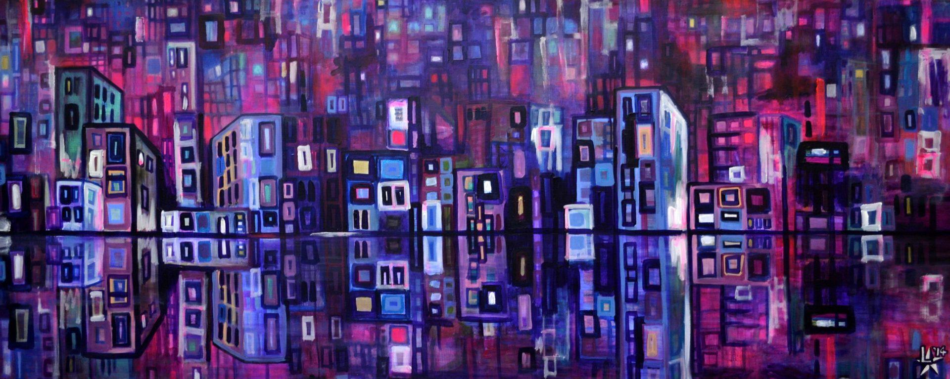 kunstenaar utrecht kunst ltuziasm l-tuziasm schilderij art artist painting urban landscape city trippin nightlife