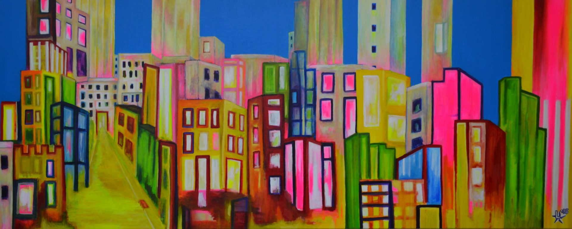 kunstenaar utrecht kunst ltuziasm l-tuziasm schilderij art artist painting urban landscape city trippin pop up jungle