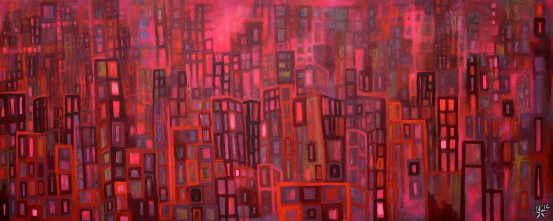 kunstenaar utrecht kunst ltuziasm l-tuziasm schilderij art artist painting urban landscape city trippin red wine mellow nights