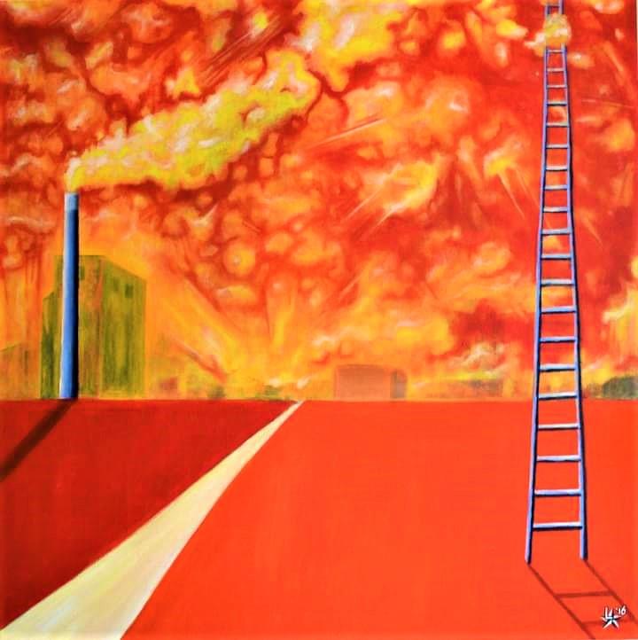 Orange sunshine painting schilderij l-tuziasm urban art contemporary