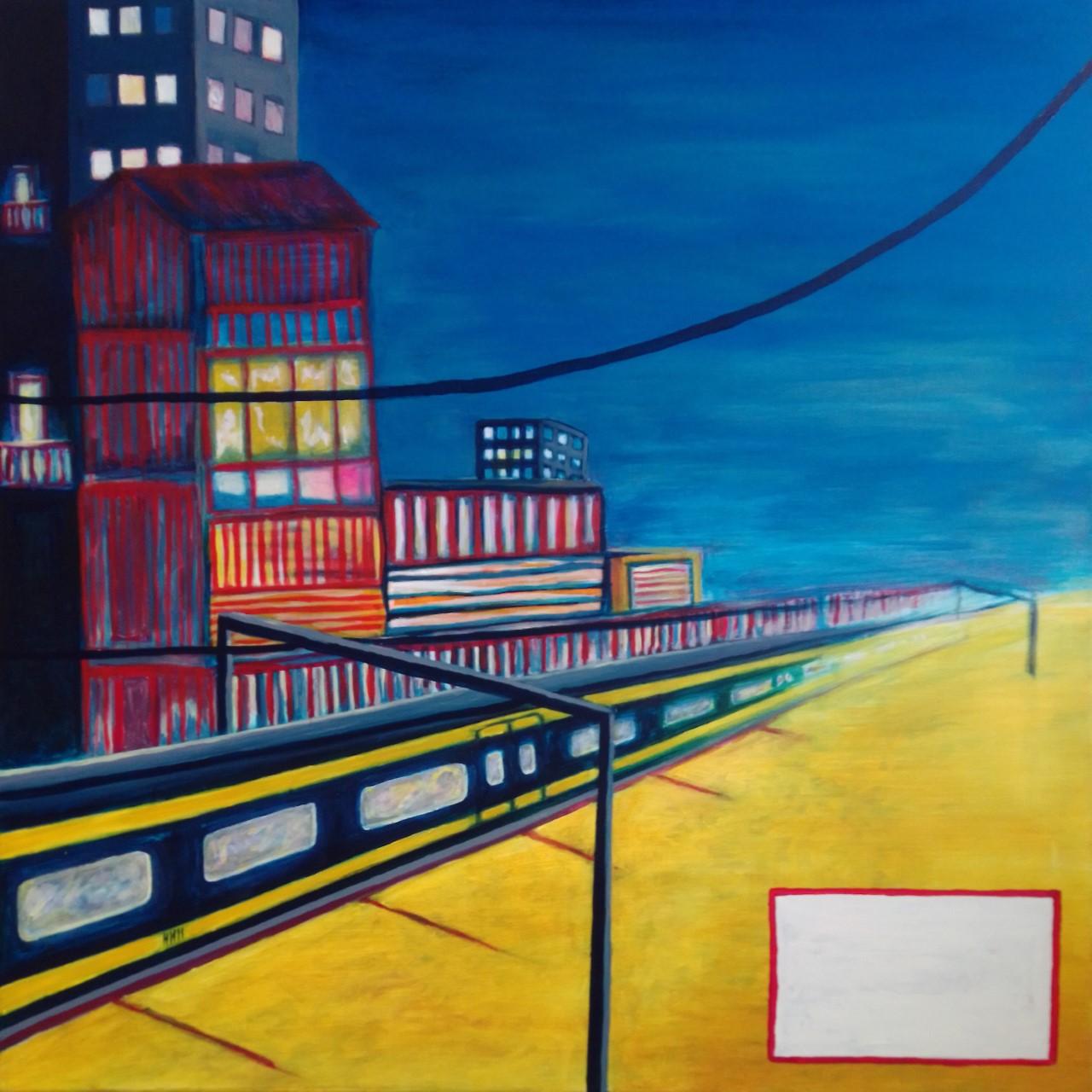 Schilderij kunstenaar l-tuziasm city trippin ub acryl