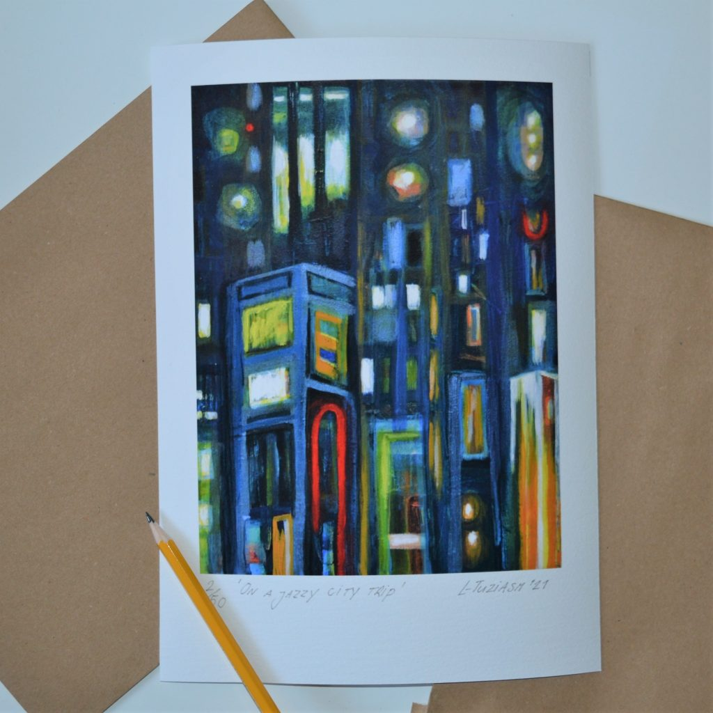 L-Tuziasm On a jazzy city trip fine art giclee print numbered and signed kunst 2021
